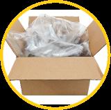 Boîte en carton avec emballage en plastique